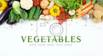 Plakat Warzywa zbliżenie z miejsca na tekst.