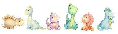 Plakat watercolo,  little dinosaur. isolated set