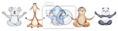 Plakat Watercolor animals character collection. Panda, sloth, giraffe, koala, elephant