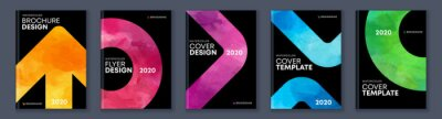 Plakat Watercolor booklet brochure colourful abstract cover template bundle set with black background