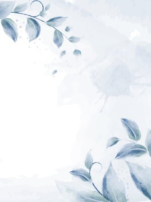 Plakat Watercolor design with blue branches leaves
