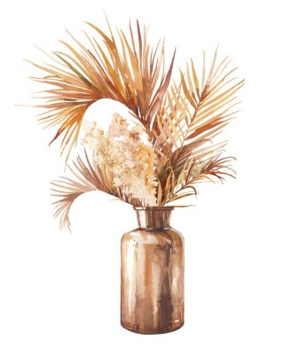 Plakat Watercolor dried tropical plants bouquet in glass bottle. Boho chic home decor. Isolated illustration on white background