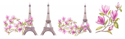 Plakat Watercolor elements of the Eiffel tower. Set magnolia flowers. Collection botanic illustration leaves, flower and branches.