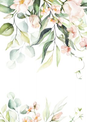 Plakat Watercolor floral border / wreath / frame with bright peach color, white, pink, vivid flowers, green leaves, for wedding invites, wallpapers, fashion, background, texture, wrapping.
