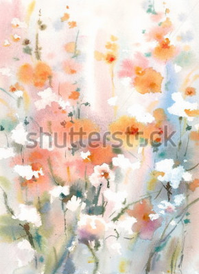 Plakat Watercolor Flowers Floral Dreamy Background Texture Hand Painted