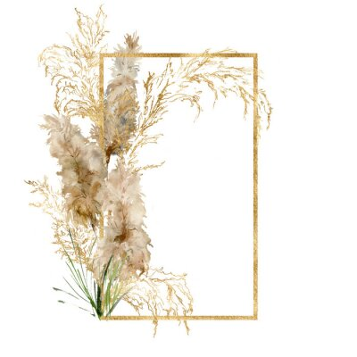 Plakat Watercolor gold frame of tropical pampas grass. Hand painted border of exotic dry plant isolated on white background. Floral illustration for design, print, fabric or background.