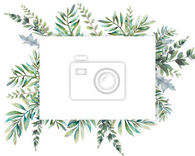 Plakat Watercolor greenery card design. Hand painted floral template: plants frame on white background.