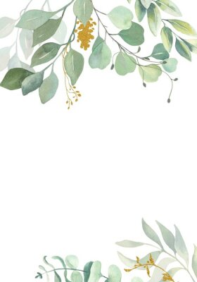 Plakat Watercolor hand painted frame with green and gold leaves.Watercolor floral illustration with branches -  for wedding invite, stationary, greetings, wallpapers, background.