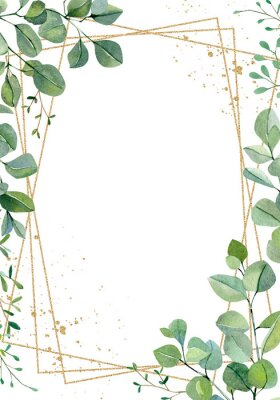 Plakat Watercolor hand painted greenery plants and nature eco design wedding card. Floral branches and leaves silver dollar eucalyptus and garden plants. Illustration for design, banner , greeting card.