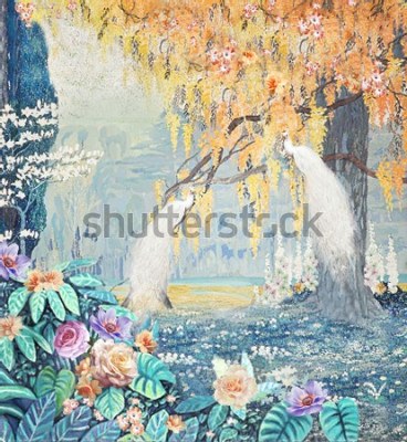 Plakat Watercolor hand-painted landscape rose peacock yellow tree