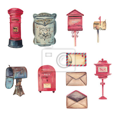 Plakat Watercolor handdrawn set with letters, red and blue retro mailboxes isolated on white background