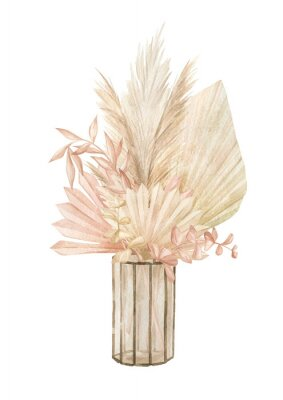 Plakat Watercolor interior scene with glass vase with pampas grass and dried leaves. Aesthetic home Decor in boho style