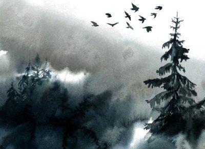 Plakat Watercolor landscape, forest and fog.