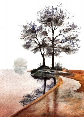Plakat watercolor morning landscape with trees