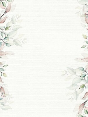 Plakat Watercolor painted floral frame on white background. Arrangement with branches and leaves.