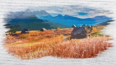 Plakat Watercolor painting of Tatra mountain in summer