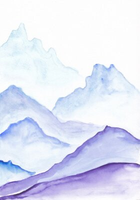 Plakat Watercolor painting of vibrant blue asian mountains. Hand drawn oriental style peaceful landscape illustration with layers of rocks. Concept for decoration, relaxation, restore meditation background.