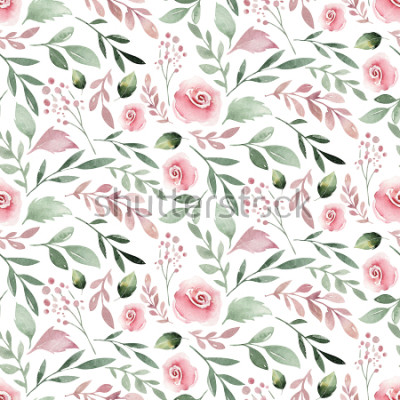 Plakat Watercolor Seamless hand illustrated floral pattern with floral leaf and flowers. Watercolor boho spring wallpaper botanical background textile