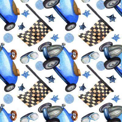Plakat watercolor seamless pattern with race flags and blue retro car