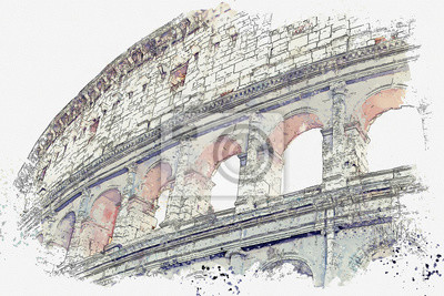 Plakat Watercolor sketch or illustration of a beautiful view of the Colosseum in Rome in Italy