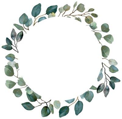 Plakat Watercolor summer greenery wreath. Eucalyptus, spring greenery frame. Wedding floral invitation frame.