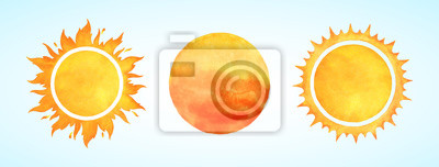 Plakat Watercolor vector sun shapes. Rising sun, sunset, dawn illustrations set. Fire colors round shape, watercolour stains. Orange red yellow circle, flaming crown frame. Maslenitsa, Shrovetide background.