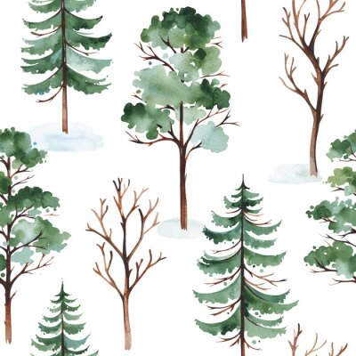 Plakat Watercolor winter landscape with tree, pine tree and conifer. Seamless background. Perfect for cover and packaging design, wallpapers, print, textile and much more