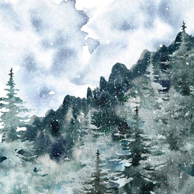 Plakat Watercolor winter misty forest background with hand painted pine and spruce trees. Snowy mountain landscape with fog in neutral grey and dark green colors for Christmas and New Year cards design.