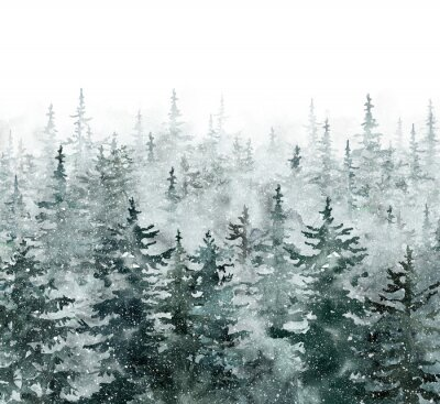 Plakat Watercolor winter pine tree forest background. Hand painted conifer spruce trees with falling snow. Nature landscape scene with trees and fog. Christmas themed design.