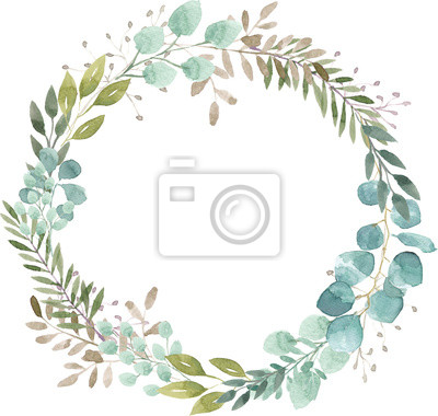Plakat watercolor wreath foliage green natural eucalyptus round delicate leaf leaves organic spring summer bouquet