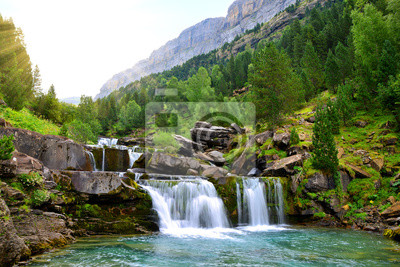 Plakat Waterfall in Ordesa and Monte Perdido National Park. Pyrenees mountain. Province of Huesca, Spain.