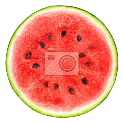 Plakat watermelon slice isolated on white background, clipping path, full depth of field