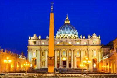 Plakat Watykan, zmierzch obraz Basilica San Pietro, Rzym