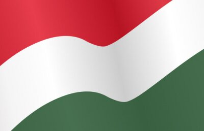 Plakat Waving flag of Hungary isolated  on png or transparent  background,Symbol of Hungary,template for banner,card,advertising ,promote, vector illustration top gold medal sport winner country