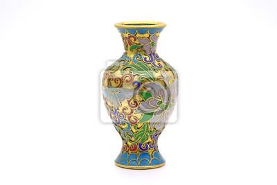 Plakat Wazon: antyczna chińska waza emaliowana Cloisonne na białym tle
