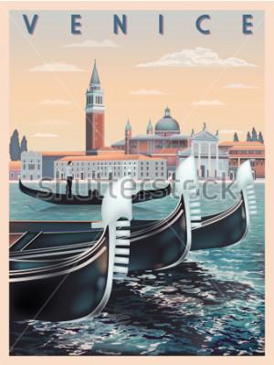 Plakat Wcześnie rano w Wenecji, Włochy. Szablon podróży lub pocztówki. Wszystkie dostępne są różne obiekty. Ręcznie rysunek wektorowej. Zabytkowy styl.