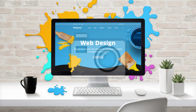 Plakat Web design concept. Modern web site on computer display surrounded by brush color drops.