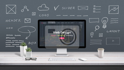 Plakat Web design concept with computer display, web theme and drawings of website, app parts. Modern design web page on computer display. Office, studio work desk.
