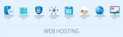 Plakat Web hosting infographic in 3D style