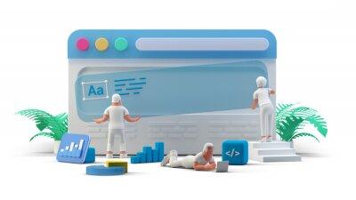 Plakat Web UI UX Design Teamwork concept 3D illustration. Team People Building Creating website User interface Front view