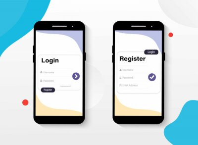 Plakat Website ui vector elements. Log In and Sign Up UI UX on Smartphone Screen. Sign in and sign up form page. Form page. Website ui vector elements. Login Application with Password Form Window.
