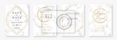 Plakat Wedding card design with golden frames and marble texture. Set of wedding announcement or invitation design template with geometric patterns and luxury background