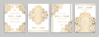 Plakat Wedding invitation card with luxury gold pattern design on a white background. Vintage ornament template. Can be used for flyer, wallpaper, packaging or any desired idea. Elegant vector elements.