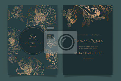 Plakat Wedding Invitation, floral invite thank you, rsvp modern card Design in white rose with red berry and leaf greenery  branches decorative Vector elegant rustic template