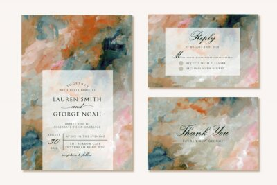 Plakat wedding invitation set with modern abstract painting background