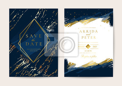 Plakat Wedding Invitation, Thank you card, rsvp, posters design collection. Trendy indigo blue and white Marble background texture - Vector