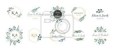 Plakat Wedding logos, hand drawn elegant, delicate monogram collection