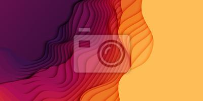 Plakat Wektor 3D abstrakcyjne tło z kształtami cięcia papieru. Kolorowa sztuka rzeźbiarska. Krajobraz rzemiosła papieru z gradientem zanikania kolorów. Minimalistyczny układ do prezentacji biznesowych, ulote