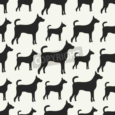 Wektor Bez Szwu Deseń Zwierząt Pies Sylwetki Kompletne Tekstury Plakaty Redro