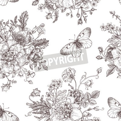 Plakat Wektor bez szwu rocznika wzór z bukietem kwiatów czarnego na białym tle. Piwonie, róże, groszek, dzwon. Monochromia.